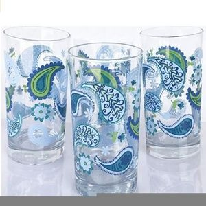 set of 3 Highball drinking Glasses Blue Paisley